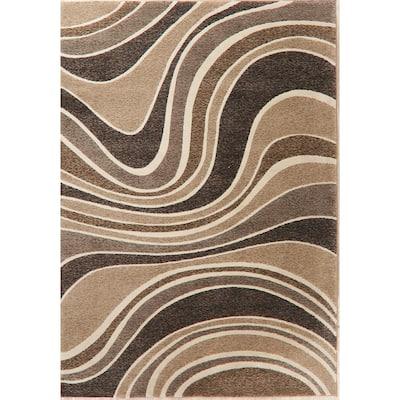 Waves Abstract Turkish Multi-Color Oriental Wool Rug - 6' 7'' X 9' 6''