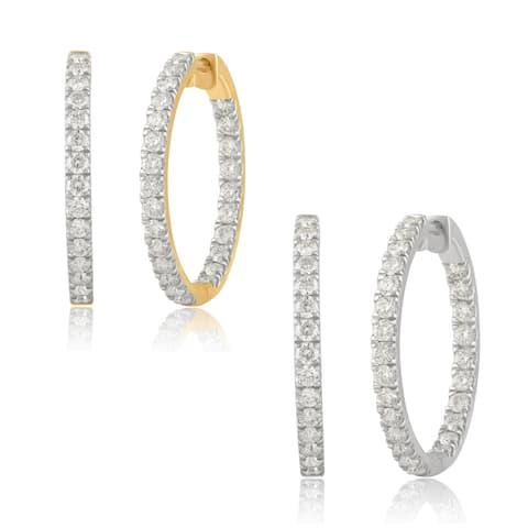 Divina 14K Gold 2.00ct TDW Round-cut Diamond Inside-out Hoop Earrings