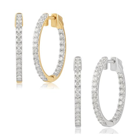 Divina 14K Gold 1.00ct TDW Round-cut Diamond Inside-out Hoop Earrings