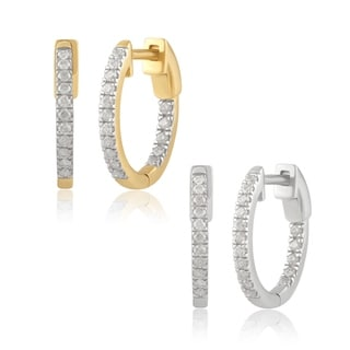 Divina 14K Gold 1/4ct TDW Round-cut Diamond Inside-out Hoop Earrings