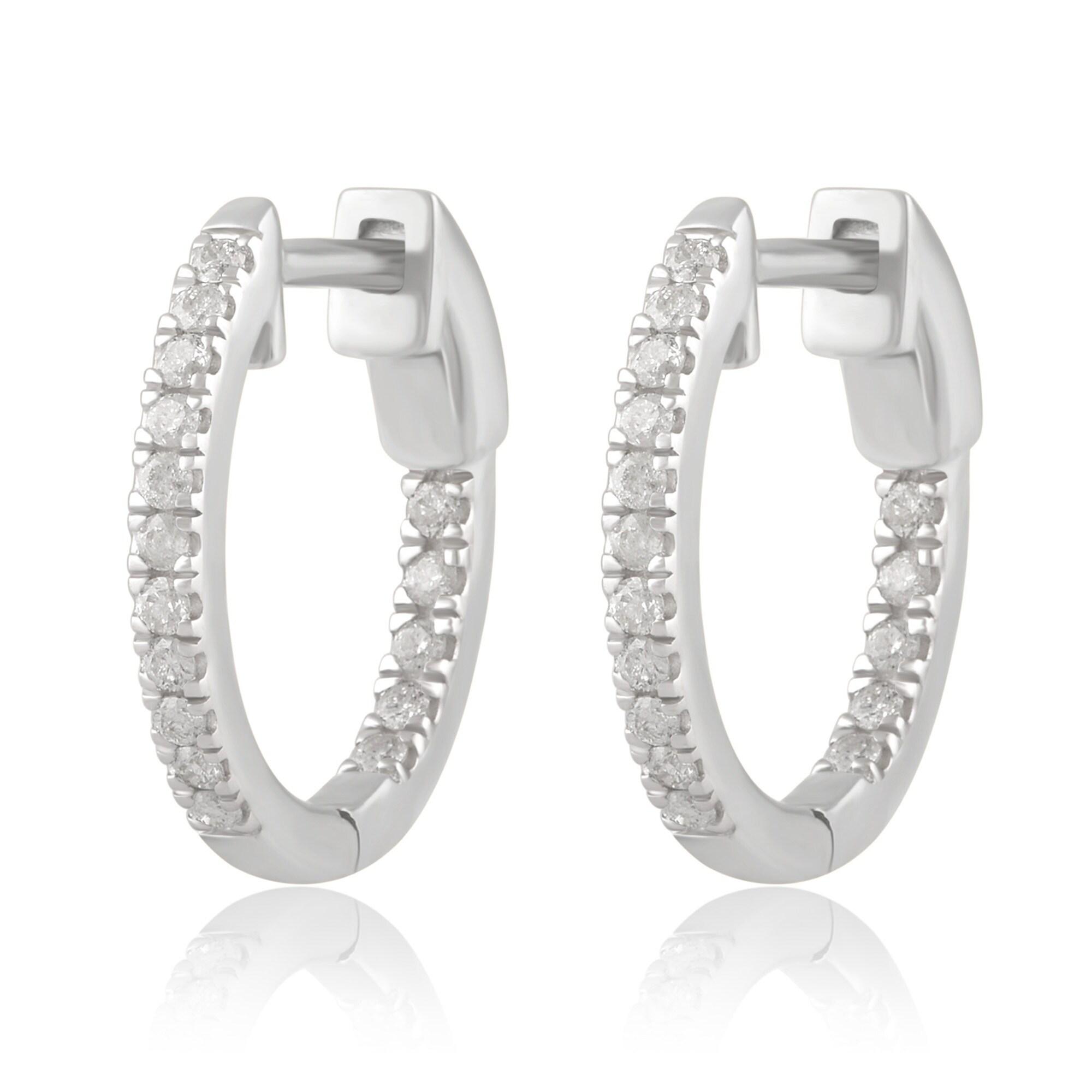 4Ct Round Gorgeous Cut Black Diamond Clip-On Hoop Earrings 14K White Gold Finish