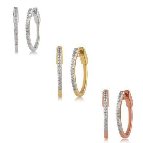 Divina Sterling Silver 1/10ct TDW Round-cut Diamond Hoop Earrings