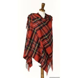 "Bronte by Moon Ruana - Merino Lambswool - Clan Royal Stewart - Tartan - 55"" x 53"""