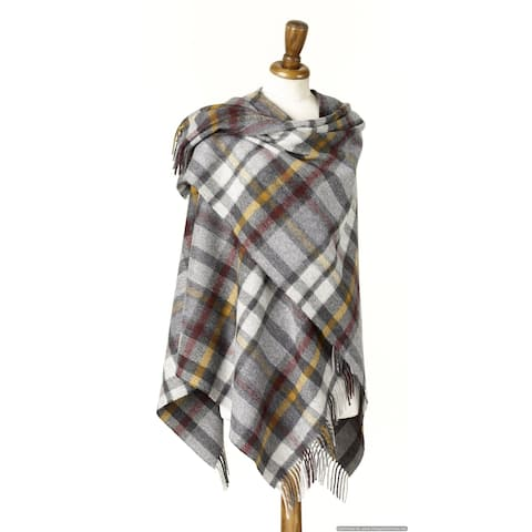"Bronte Moon - Plaid Ruana Wrap - Merino Lambswool - Buttertubs - Gray - 55"" x 53"" - 55"" x 53"""