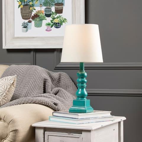 "Conrad 18.5"" Distressed Blue Resin Table Lamp - 18.5""H x 9""Rnd"