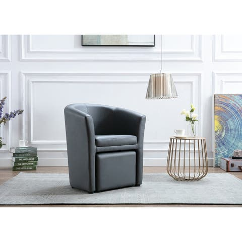 Porthos Home Abella Accent Club Chair With Foot Stool, PU Leather