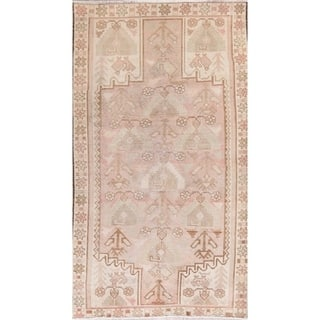 """Antique Geometric Muted Pale Pink Malayer Distressed Oriental Area Rug - 7'2"""" x 3'11"""""""