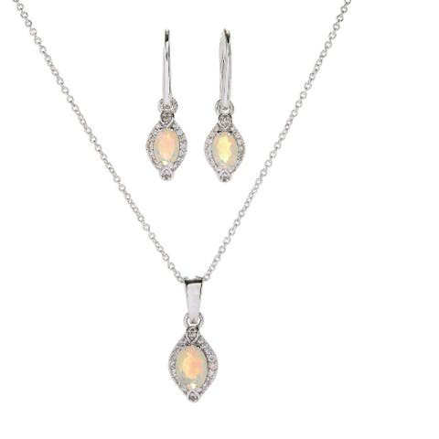 """Set of Sterling Silver Pendant and Earring in Ethiopian Opal with 18"""" Chain"""