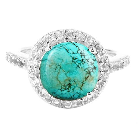 Sterling Silver with Turquoise and White Topaz Halo Ring