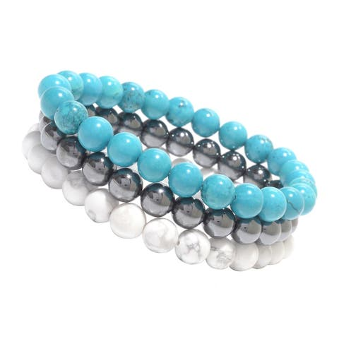 Set of Three 8mm Natural Howlite, Hematite and Turquoise Stretch Bracelets
