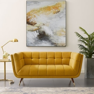 Art-leon Modern Tufted Fabric Soft Loveseat with Wood Legs
