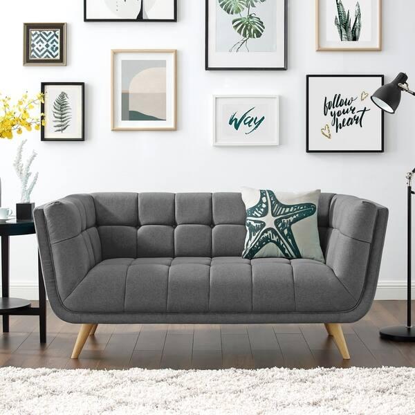 Fine Shop Art Leon Modern Tufted Fabric Soft Loveseat With Wood Frankydiablos Diy Chair Ideas Frankydiabloscom
