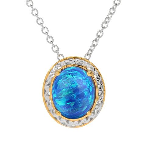 """Two Tone with Blue Opal Solitaire Pendant with 18"""" Chain"""