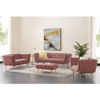 Art-leon Modern Tufted Fabric Soft Living Room Set with Wood Legs