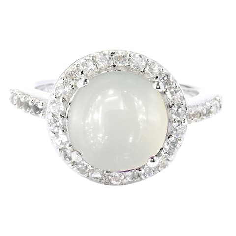 Sterling Silver with Natural Moon Stone and White Topaz Halo Ring