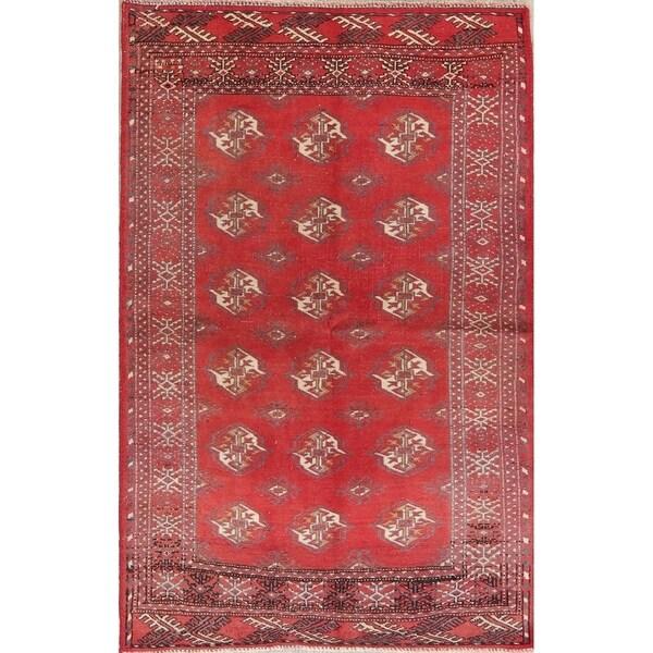 Vintage Geometric Balouch Afghan Oriental Wool Area Rug - 3' 3'' X 5' 1''