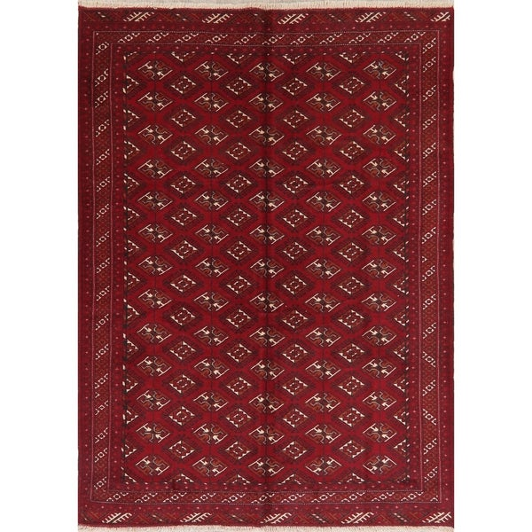 Geometric Red Balouch Afghan Red Oriental Area Rug - 6' 9'' X 9' 5''