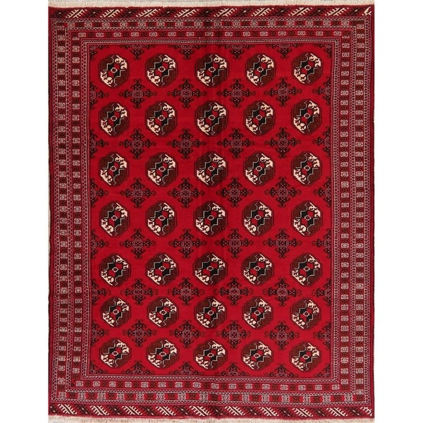 Geometric Red Balouch Afghan Oriental Area Rug - 6' 10'' X 8' 11''