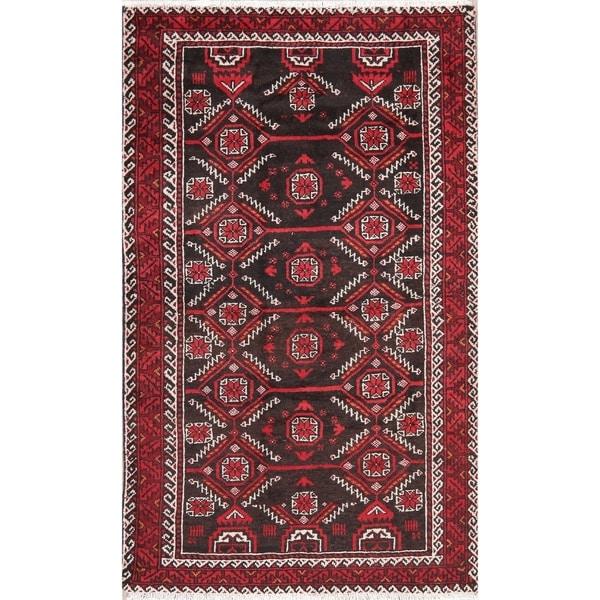 Vintage Black Balouch Afghan Oriental Wool Area Rug - 3' 11'' X 6' 5''