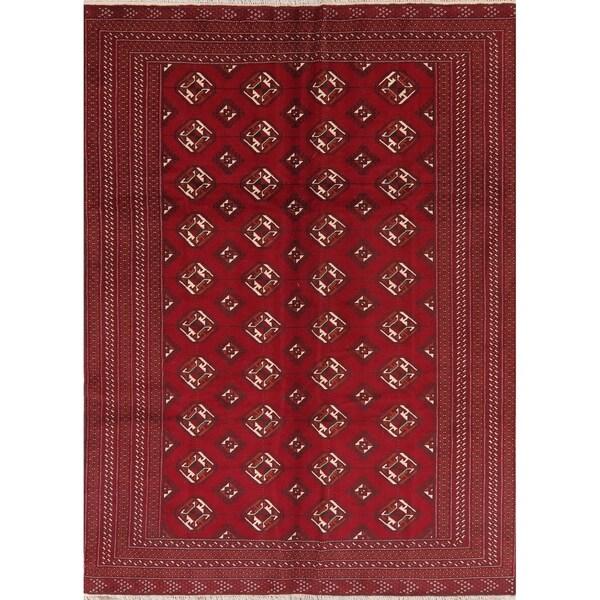 Geometric Red Balouch Afghan Oriental Area Rug - 6' 10'' X 9' 3''