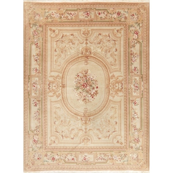Vintage Floral Aubusson Chinese Oriental Wool Area Rug - 8' 6'' X 11' 2''