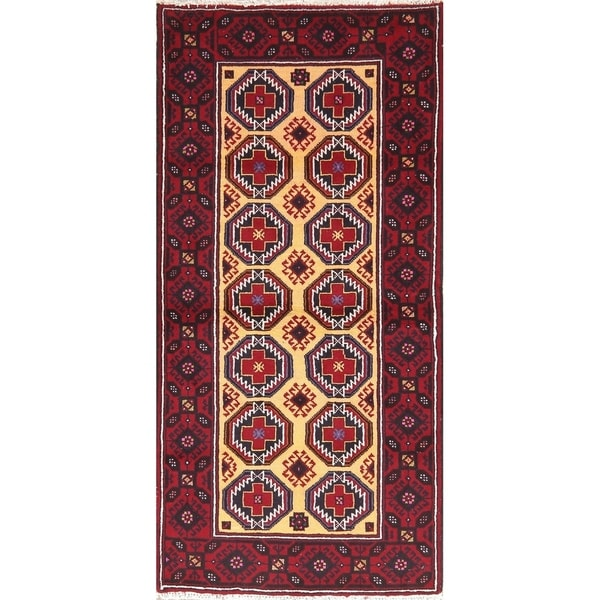 Wool Geometric Balouch Afghan Oriental Area Rug - 3' 1'' X 6' 4''
