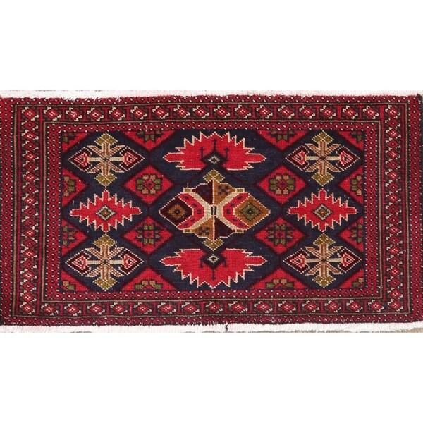 Vintage Geometric Balouch Afghan Oriental Wool Area Rug - 3' 2'' X 1' 8''