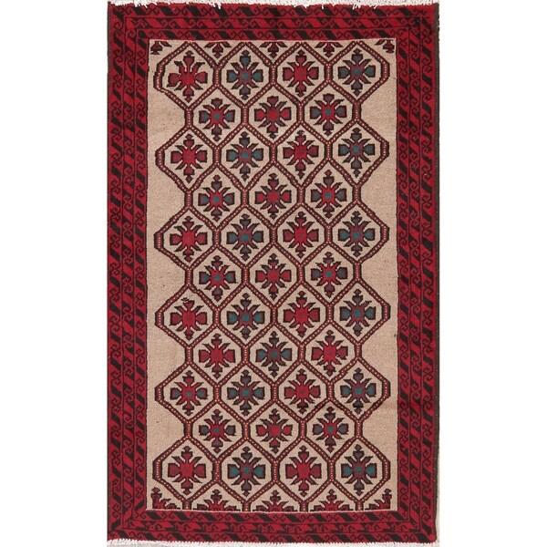 Geometric Ivory Balouch Afghan Oriental Wool Area Rug - 3' 6'' X 5' 8''
