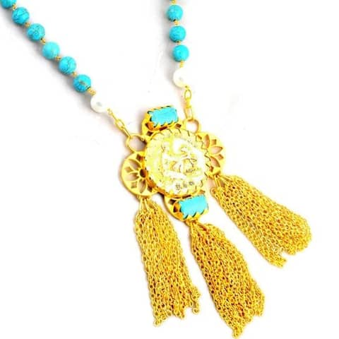 Turquoise, Pearl Brass Fancy Fashionable Fashion Necklace by Orchid Jewelry