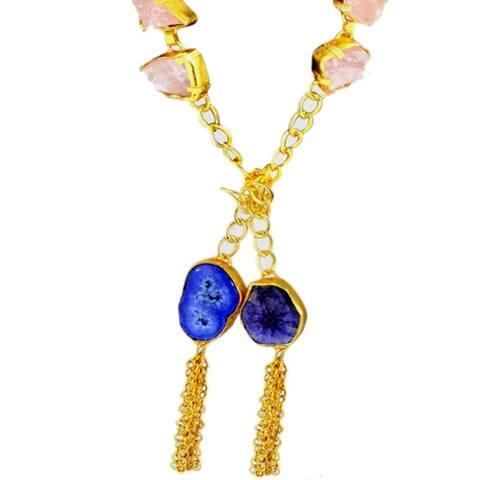 Rose Quartz & Solar Druzy Quartz Gold Plated Necklace