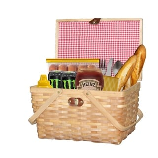 Link to Gingham Lined Woodchip Picnic Basket With Lid and Movable Handles Similar Items in Men's Watches