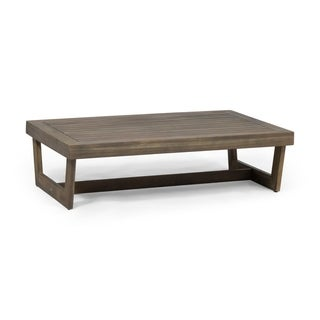 Sherwood Outdoor Acacia Wood Coffee Table in Gray Finish by Christopher Knight Home (As Is Item)
