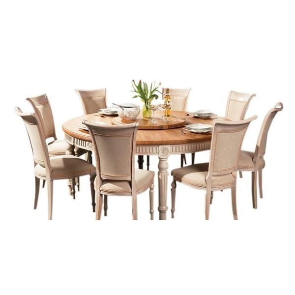 Badi Solid Wood Round Dining Table Fl 120 Natural Oak White Brown N A On Sale Overstock 28908111
