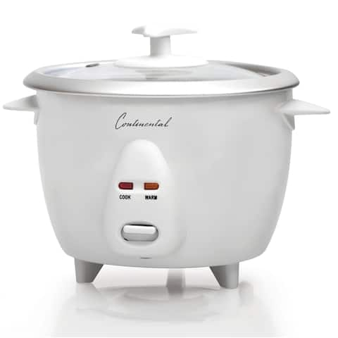 Rice Cooker 12-Cup Cooked Glass Lid White