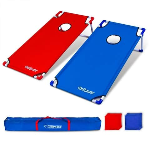GoSports Portable 4' x 2' XL PVC Framed Cornhole Game Set with 8 Bean Bags and Travel Carrying Case - 4' x 2'