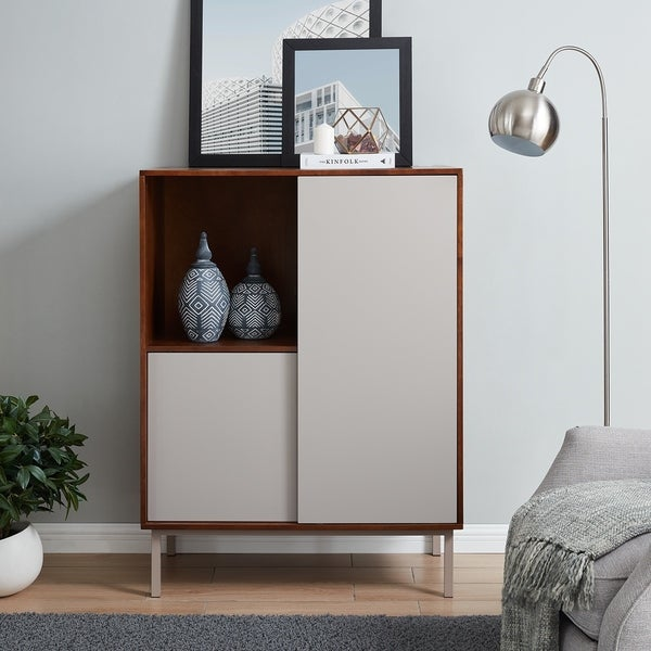 Holly & Martin Hanzi Two-Tone Sliding Door Storage Cabinet. Opens flyout.