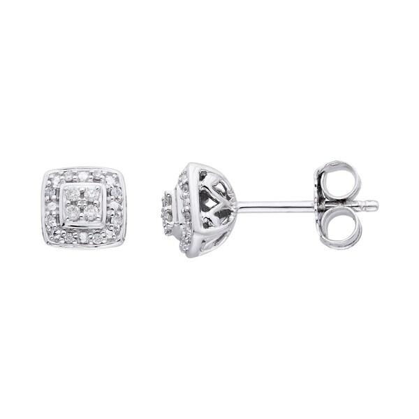 10Karat White Gold 1/14cttw Diamond Earrings