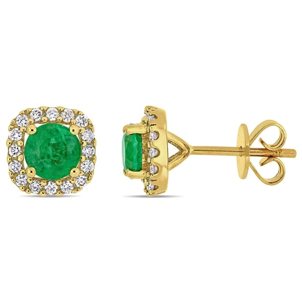 f989cac3a4b9c Miadora 14k Yellow Gold Emerald and 1/4ct TDW Diamond Square Halo Stud  Earrings