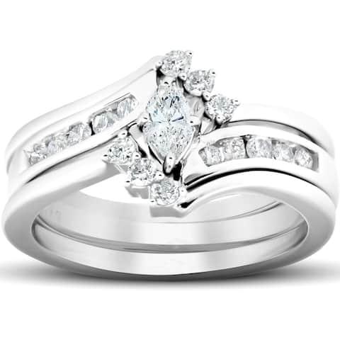 1/2 Ct Marquise Diamond Engagement Trio Wedding Ring Set 10k White Gold