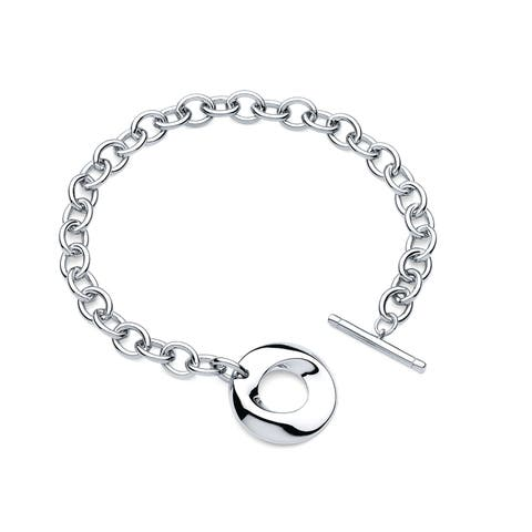 "7.5"" Sterling Silver Rolo Chain Bracelet with Round Toggle Closure"