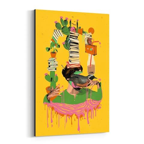 Noir Gallery Books Reading Bird Woman Cactus Canvas Wall Art Print