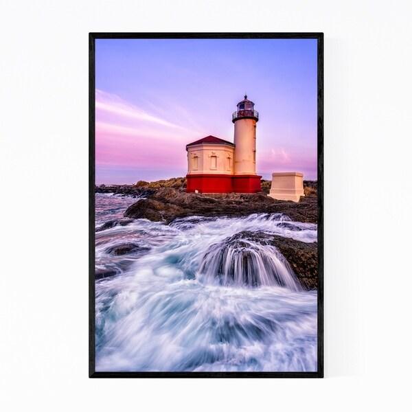 Noir Gallery Coquille River Lighthouse Waves Framed Art Print