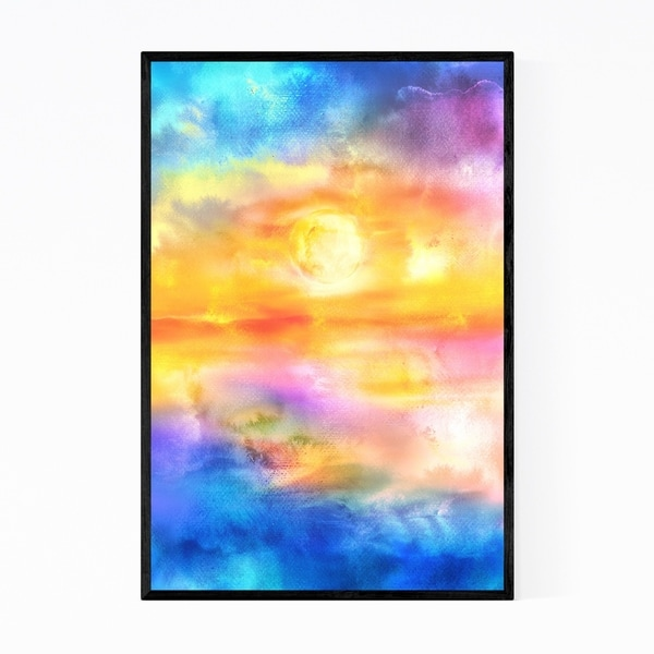 Noir Gallery Abstract Sunset Fire Water Framed Art Print