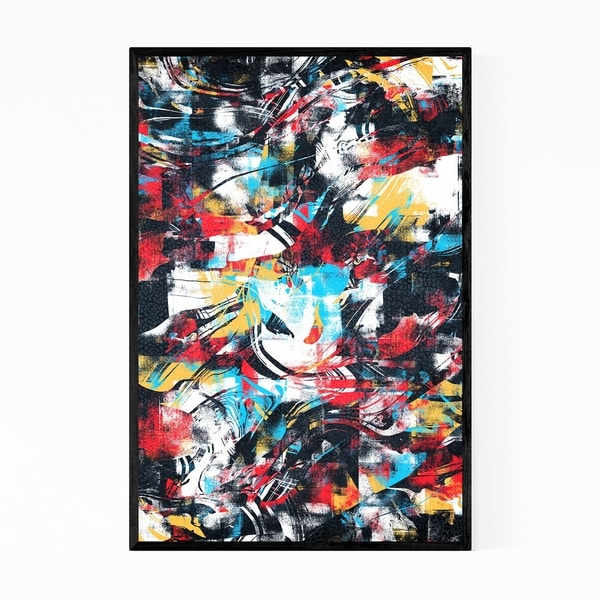 Noir Gallery Abstract Black Red Yellow Curves Framed Art Print