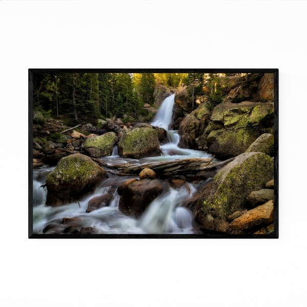 Noir Gallery Alberta Waterfall Forest Framed Art Print