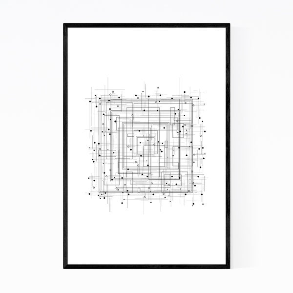 Noir Gallery Abstract Geometric Minimal Pattern Framed Art Print