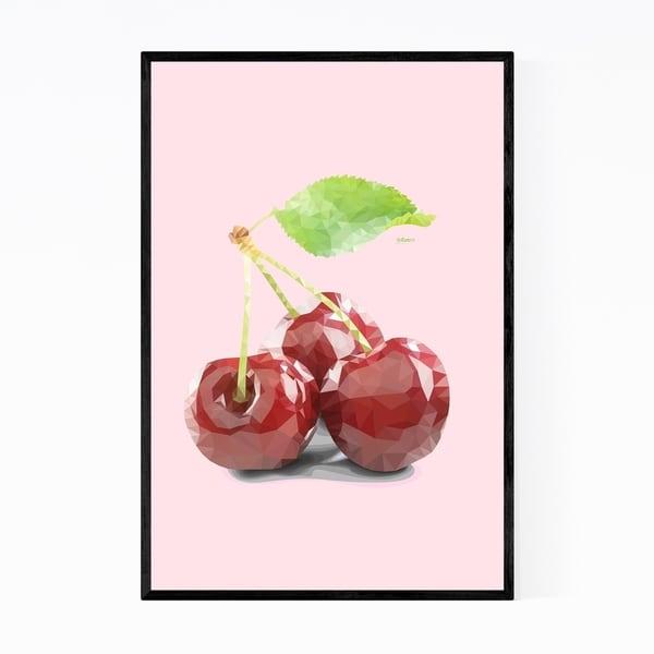 Noir Gallery Minimal 8 Bit Cherry Fruit Kitchen Framed Art Print