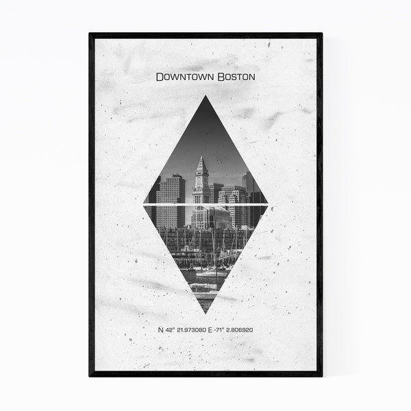 Noir Gallery Boston Massachusetts Coordinates Framed Art Print