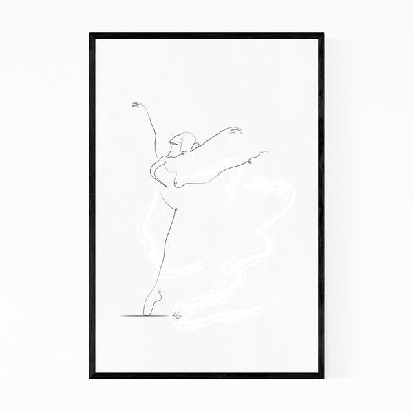 Noir Gallery Ballet Dancer Line Drawing Minimal Framed Art Print