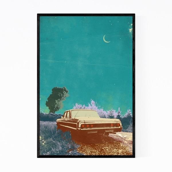 Noir Gallery Vintage Car Moon Nature Collage Framed Art Print